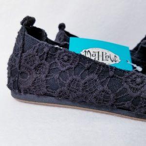 New Mad Love Beachside Sommer Slip On Canvas Sneaker Flats Black Girl Sz 2 3 4 5